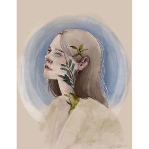 girl on blue – art print